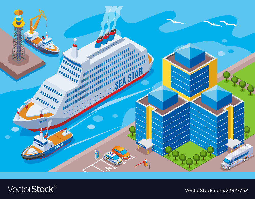 Seaport isometric colored concept