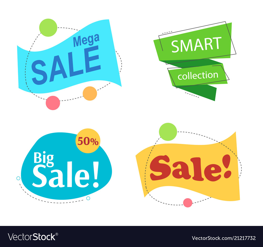 Set colored promotion banners flat bubble shaped