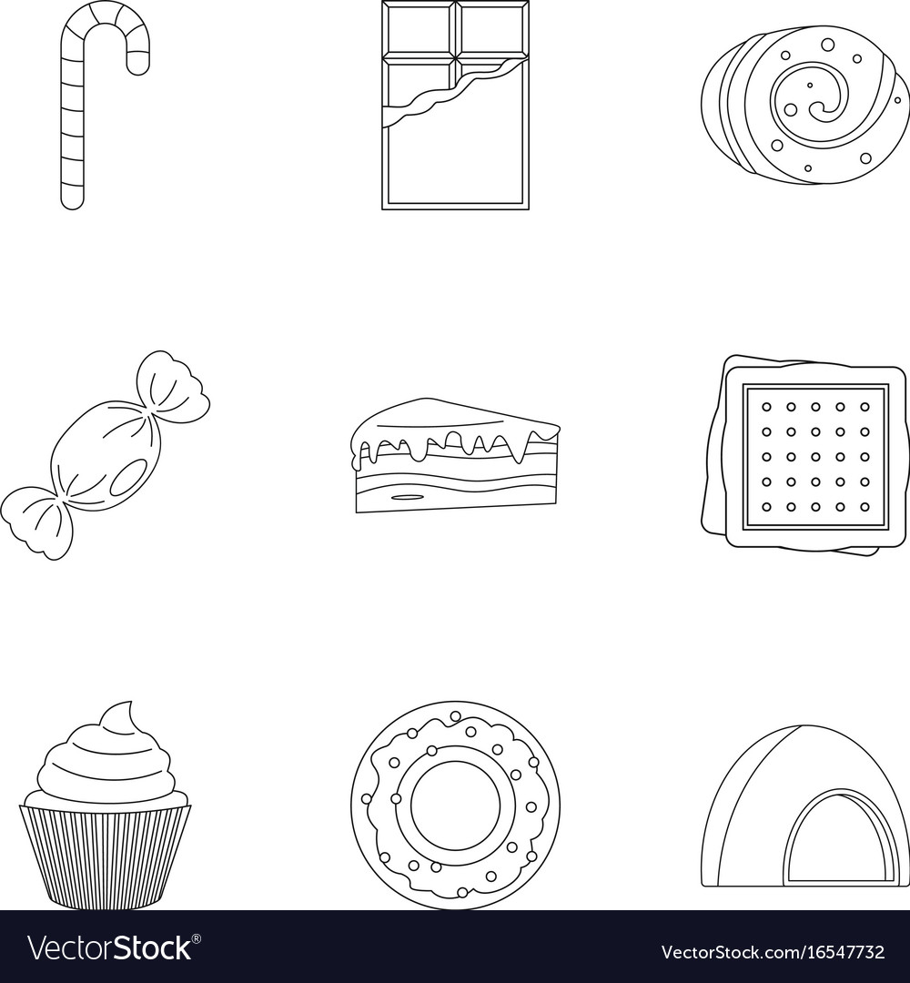Sweet food icon set outline style vector image