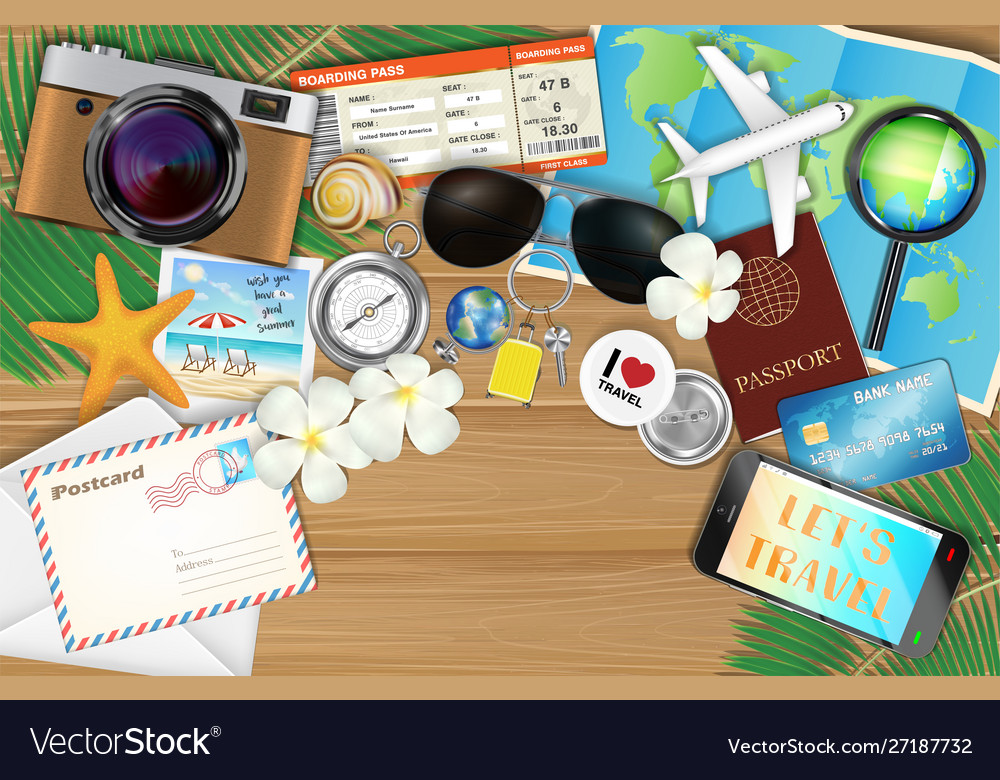Tropical travel object set on wood background