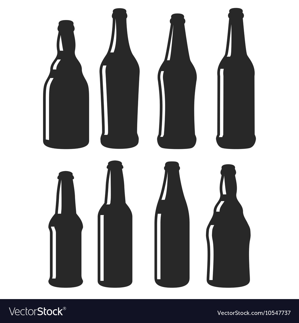 beer bottles different shapes black icons vector image rh vectorstock com beer bottle vector png free vector beer bottles