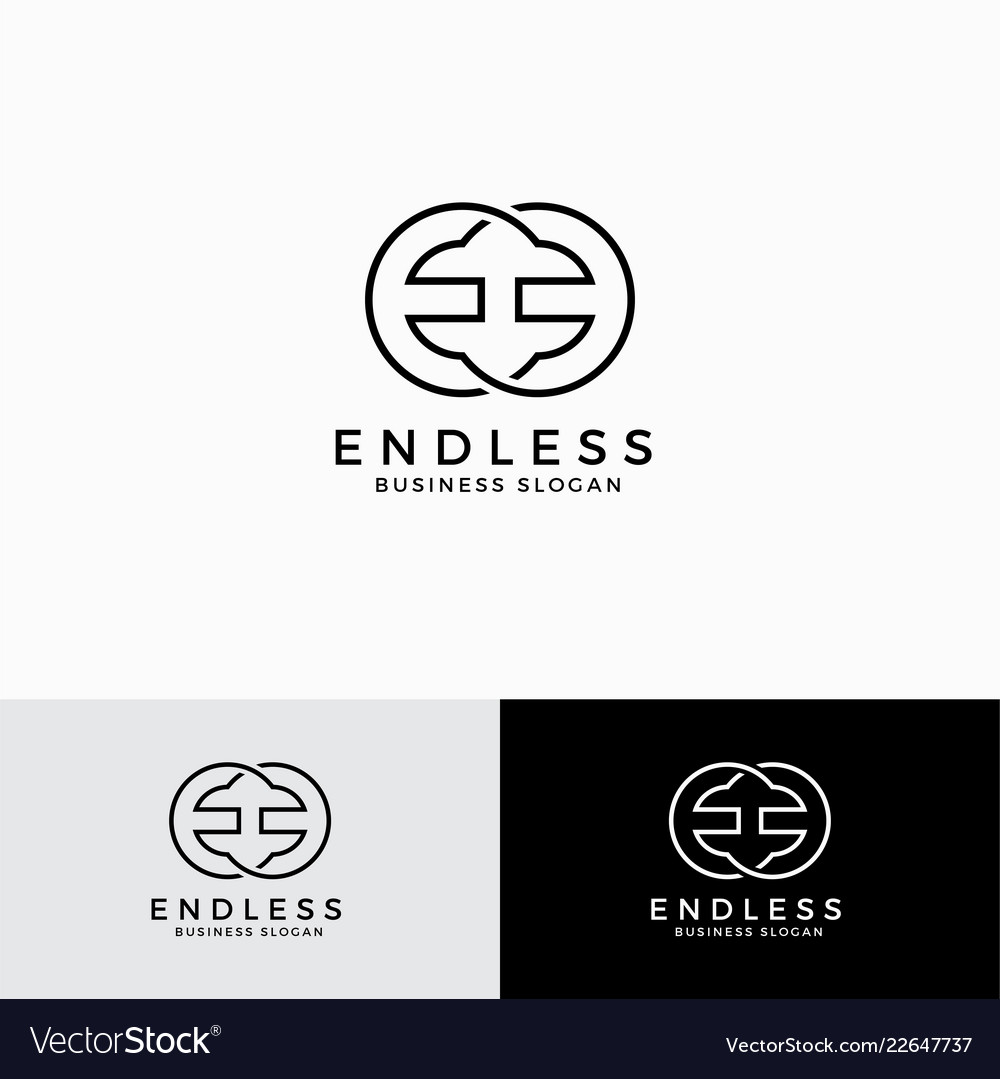 Endless - stylish mirrored letter e logo template