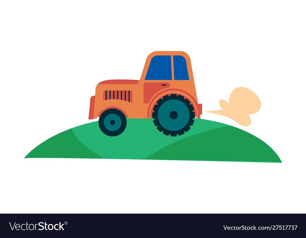 Farmers agricultural tractor on field flat cartoon