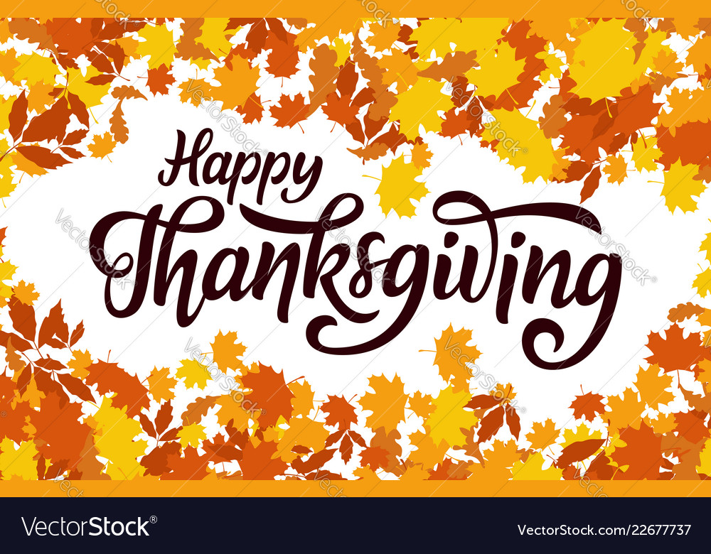 Happy thanksgiving greeting hand drawn lettering