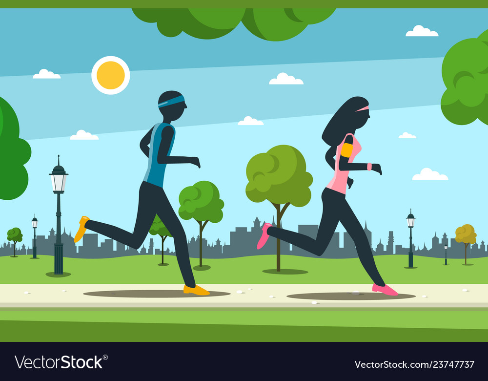 Jogging in city park man and woman running