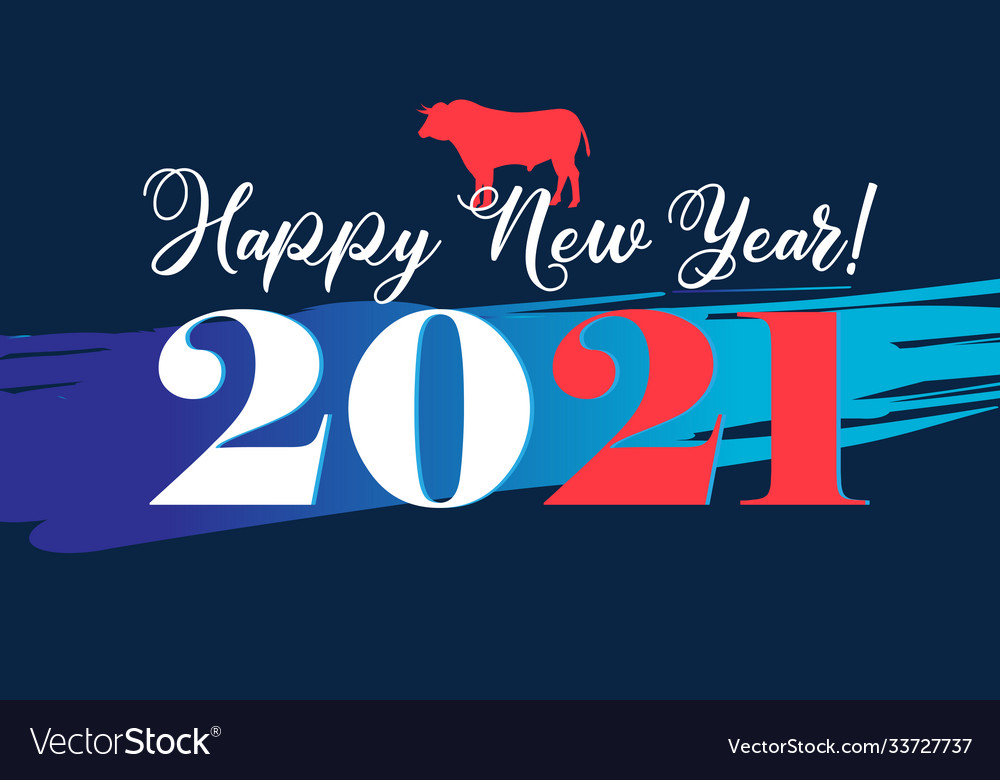 New year background with numbers and bull