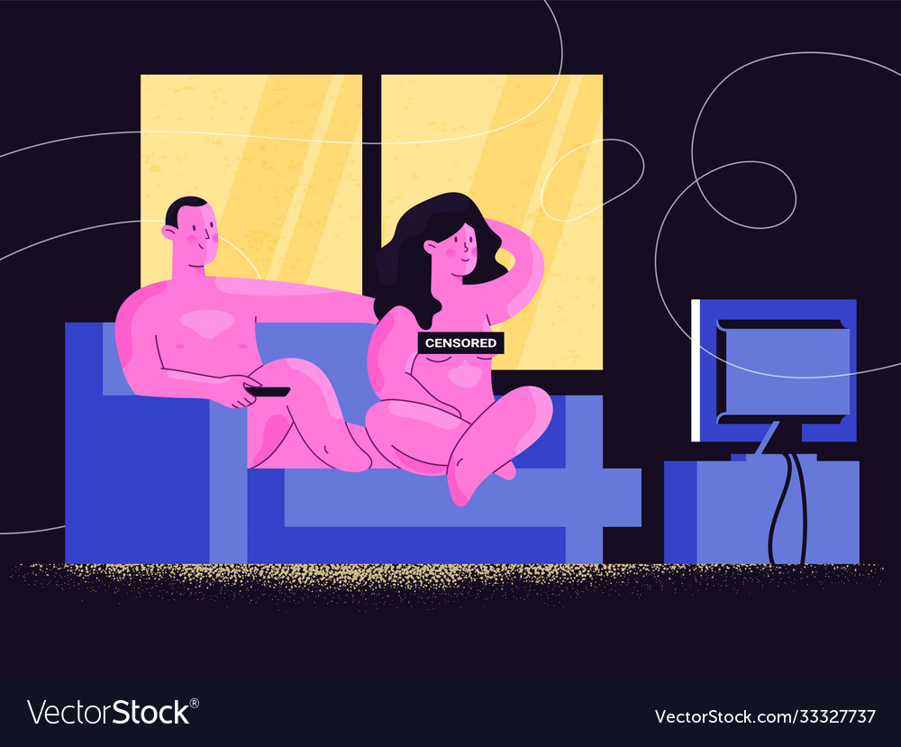 Nude couple watching tv shows with censored sign