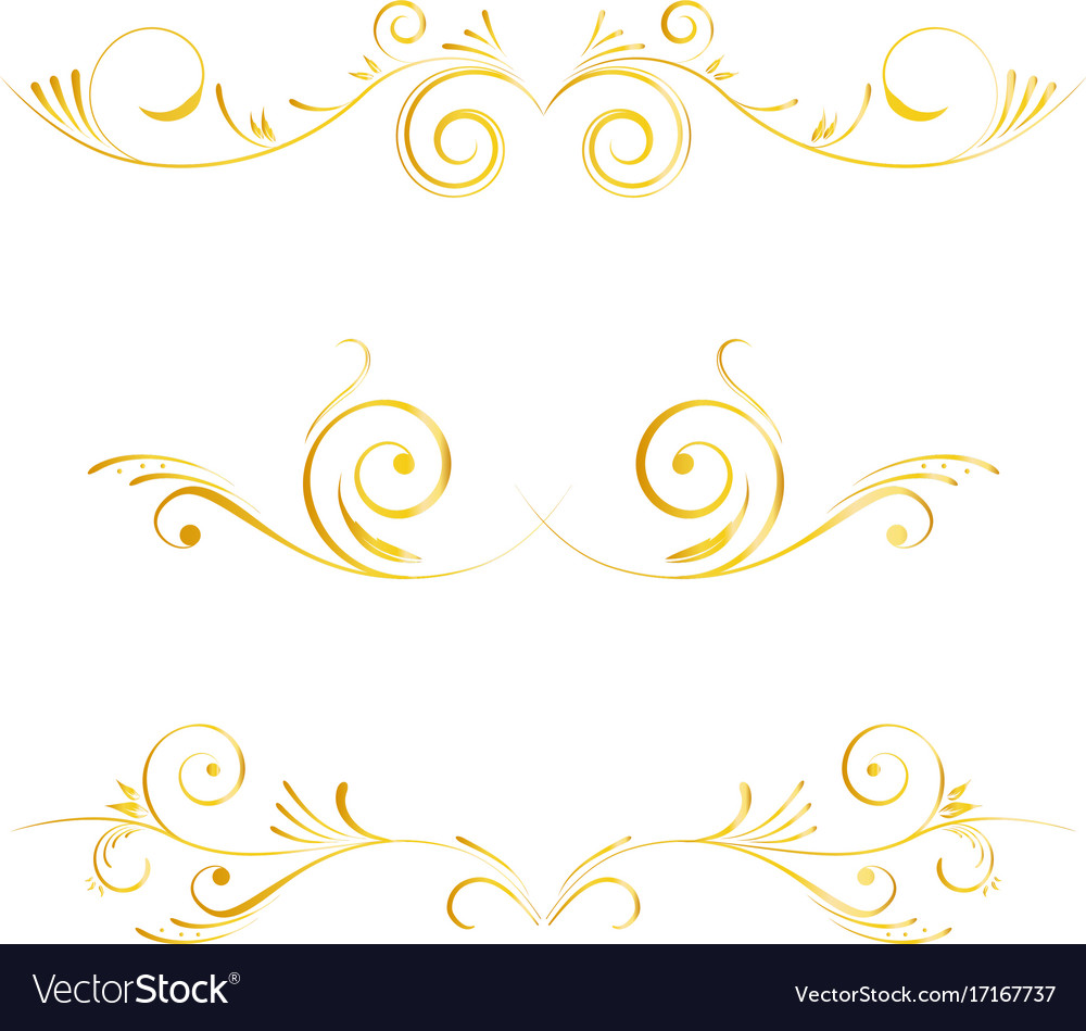 Set of page decoration golden elements vector image