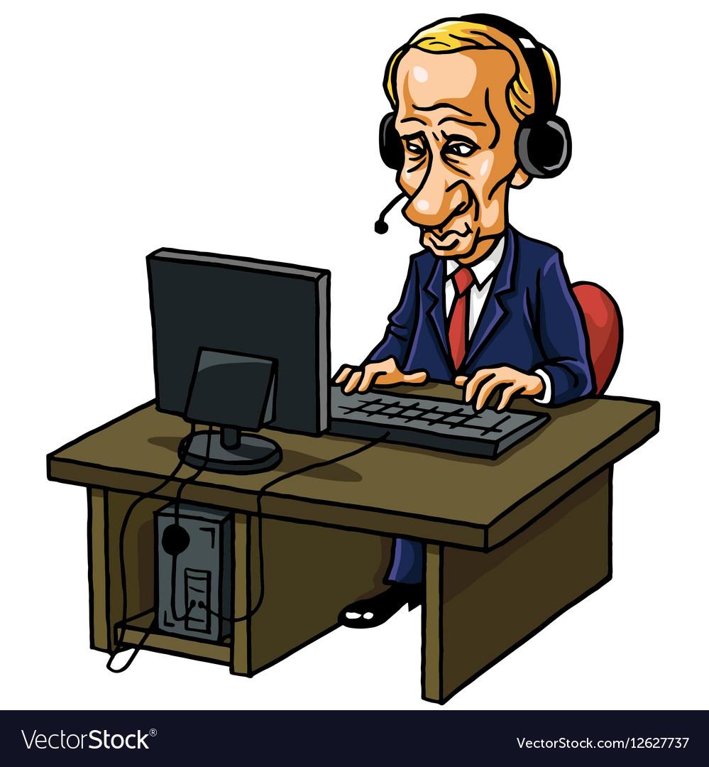 Vladimir Putin With His Computer