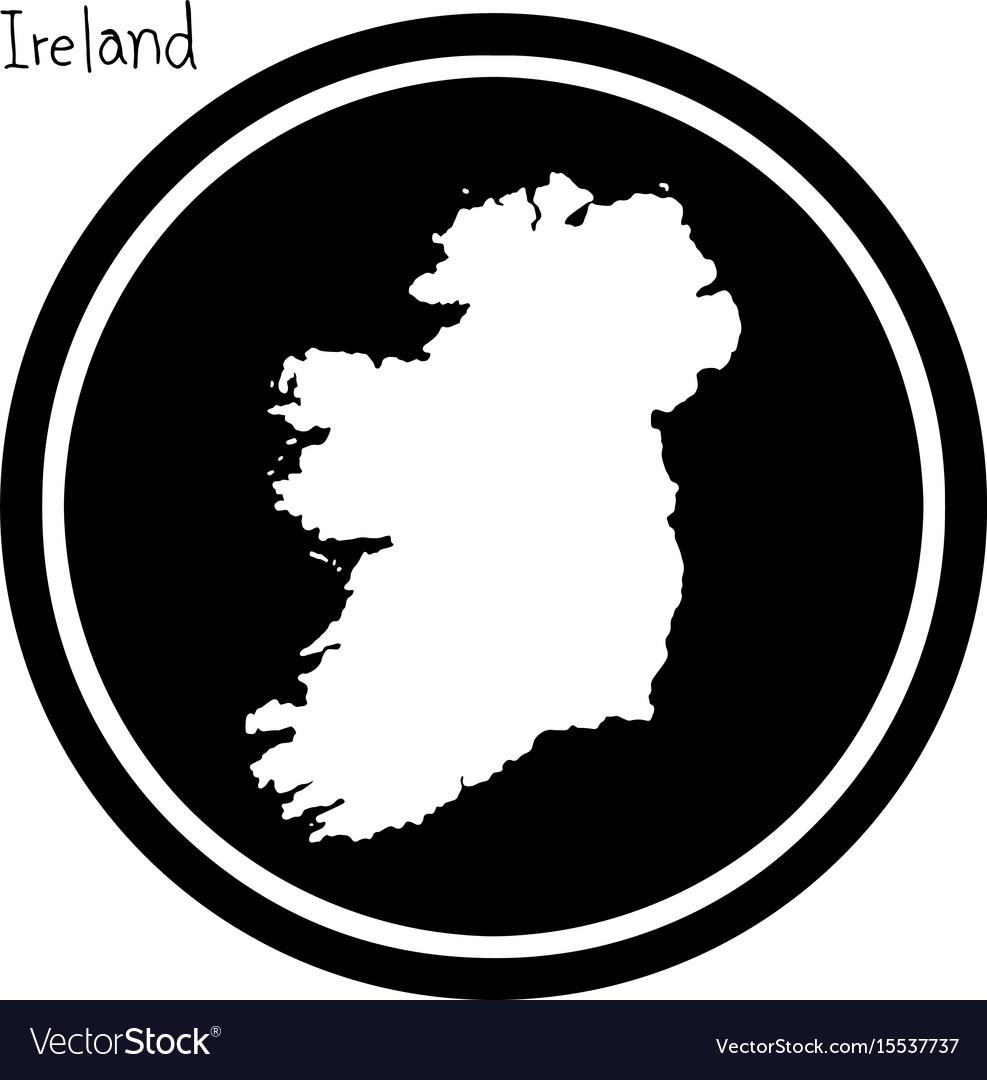 White map of ireland on black circle