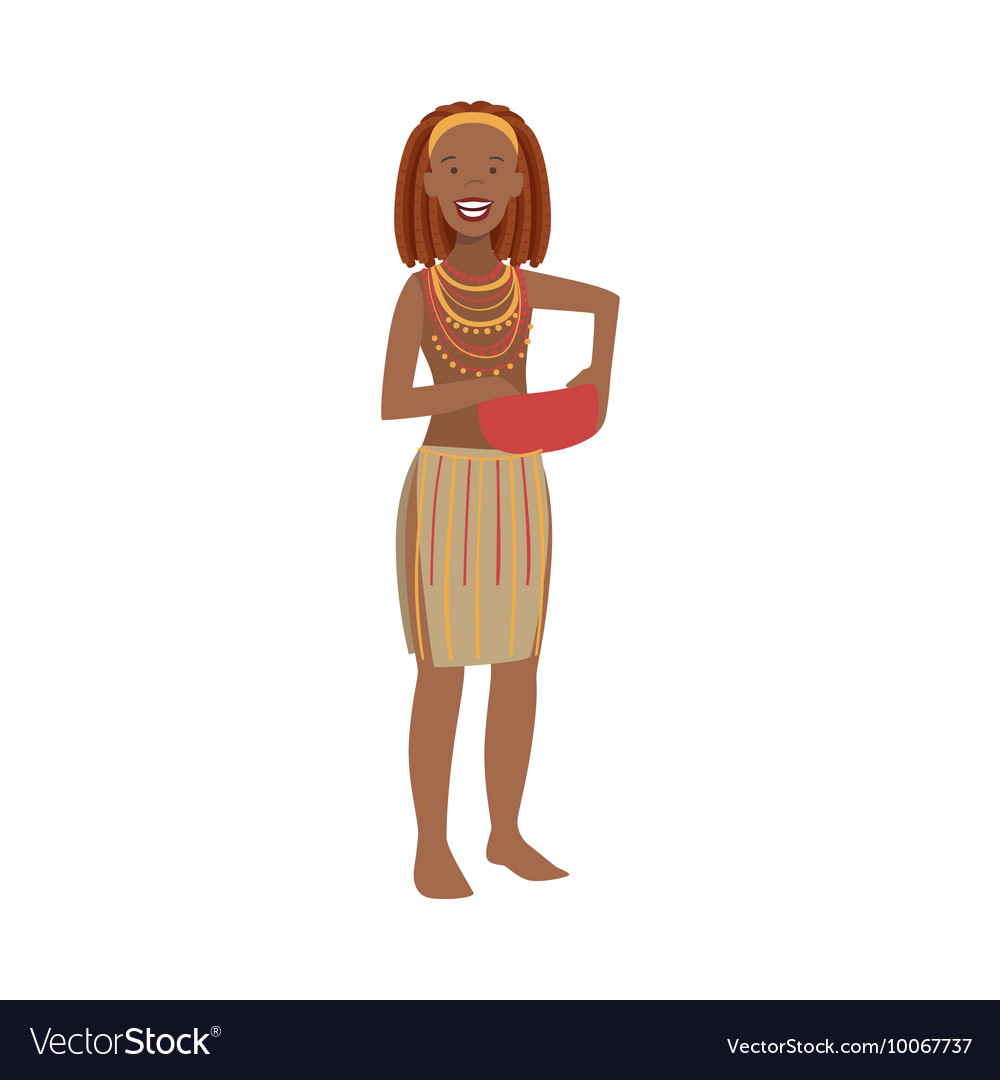 Woman With Red Hair From African Native Tribe vector image