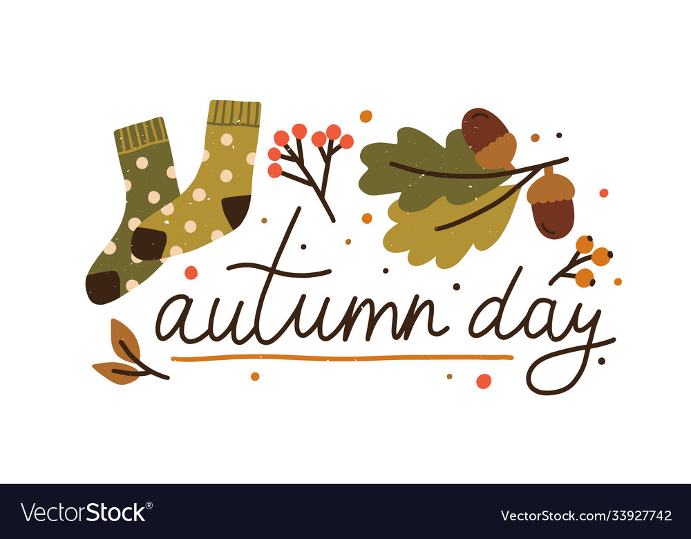 Autumn day colorful lettering with design elements