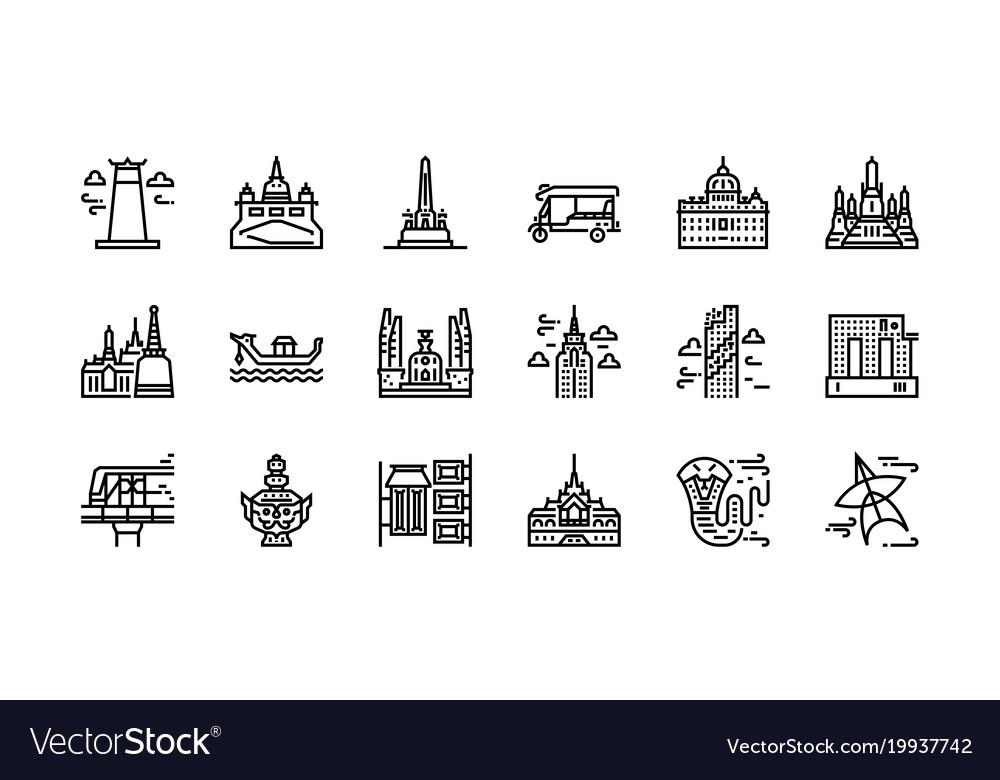 Bangkok symbols and landmarks icon set 1 vector image