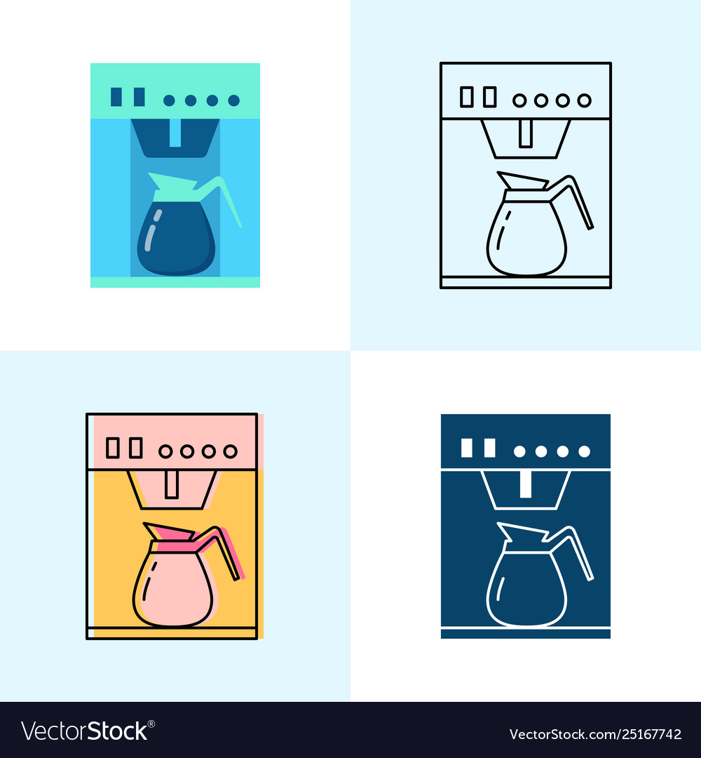 Coffee maker icon set in flat and line styles