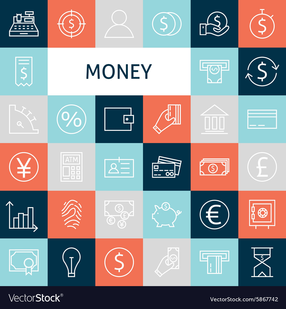 Flat Line Art Modern Money and Finance Icons Set