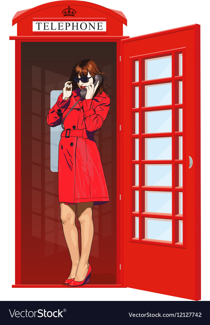Girl in an English phone booth