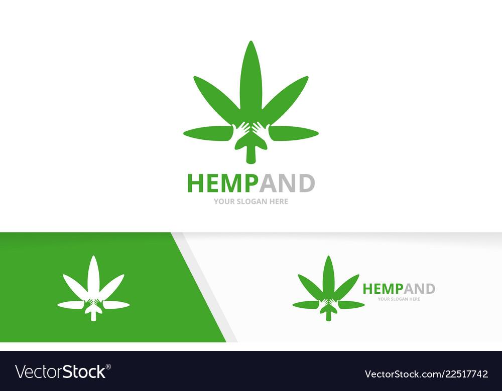 Marijuana leaf and hands logo combination