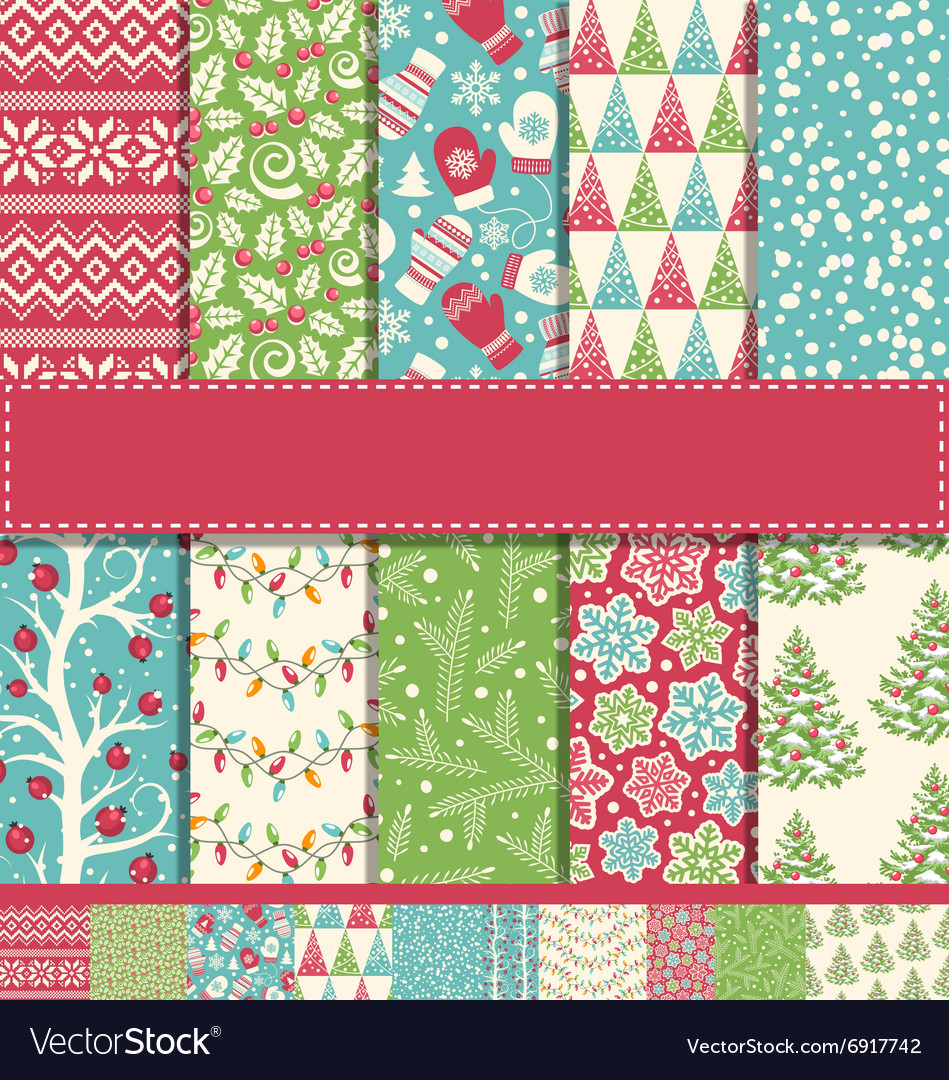 Set of 10 Seamless Bright Fun Christmas Winter