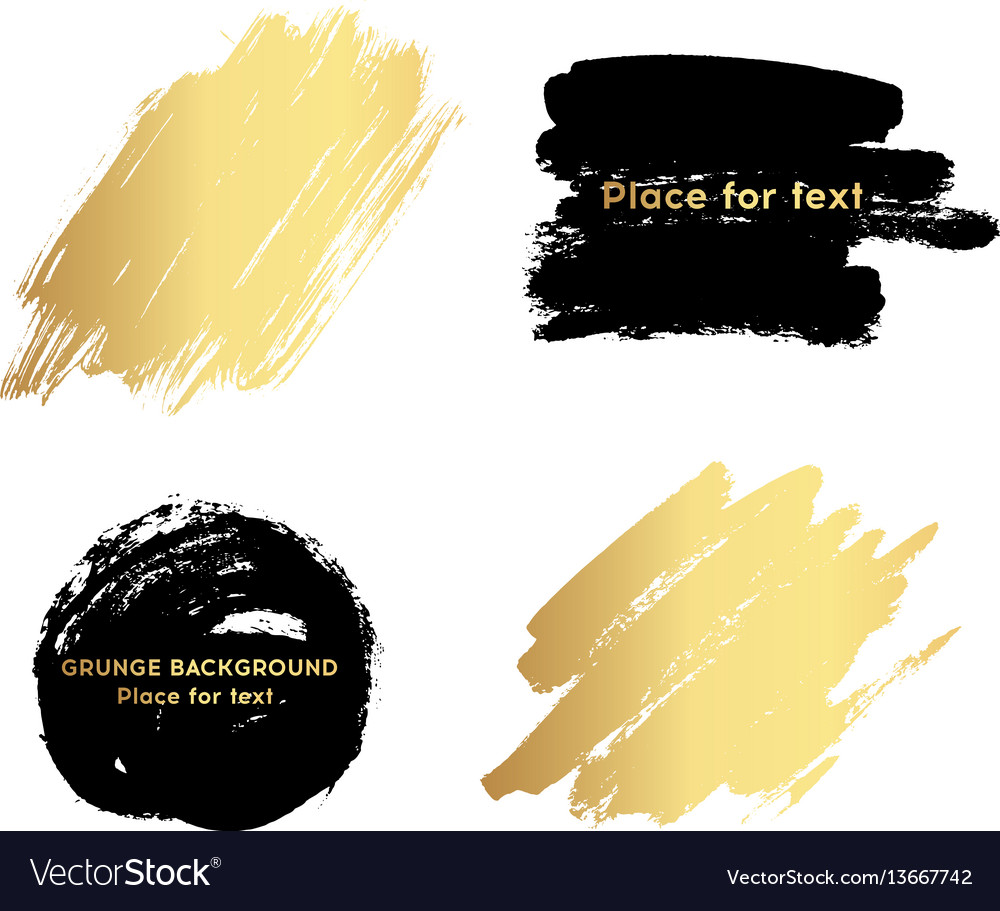 724afc01c6cf Set of black and gold paint ink brush strokes Vector Image