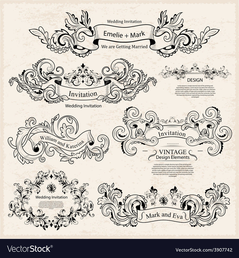Set of Vintage Victorian ornaments Wedding design