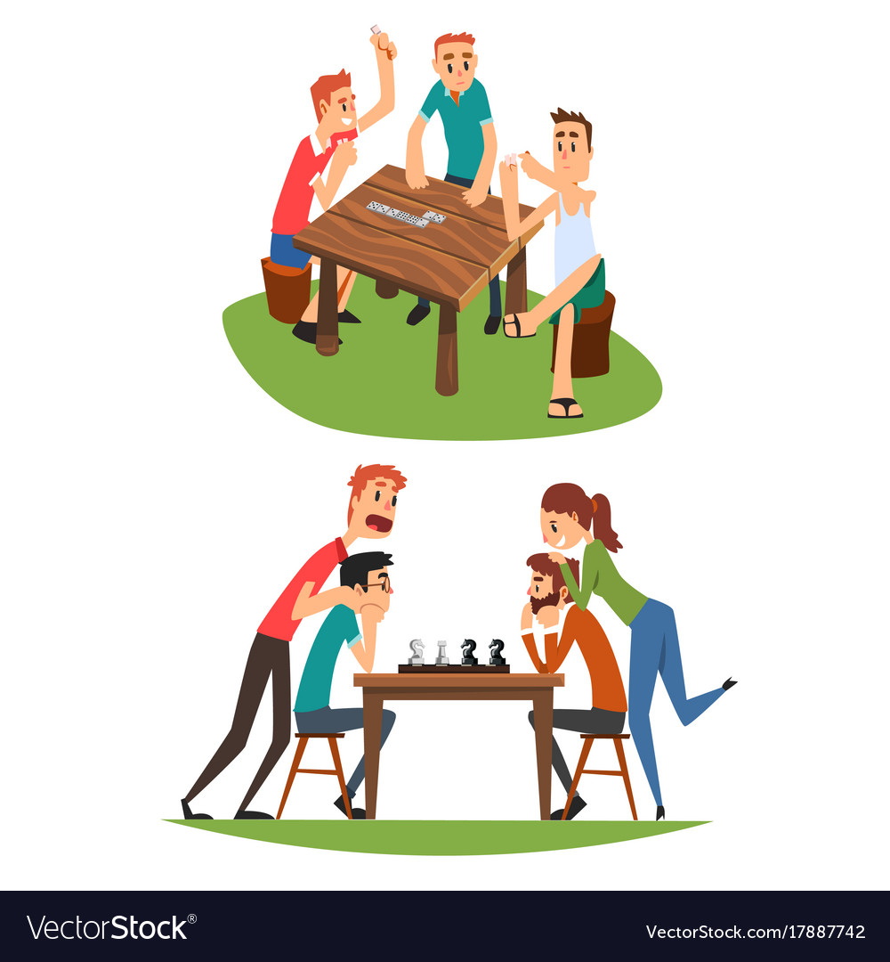 Table games set friends playing domino and chess