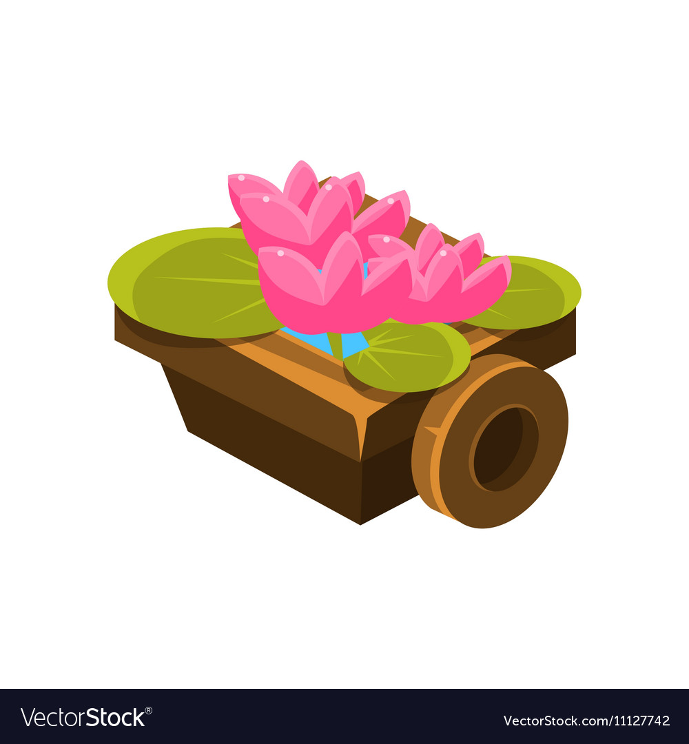 Wooden Pot With Water Lilies Isometric Garden vector image