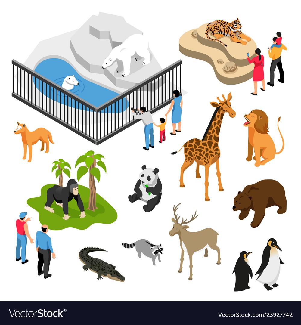 Zoo people isometric set