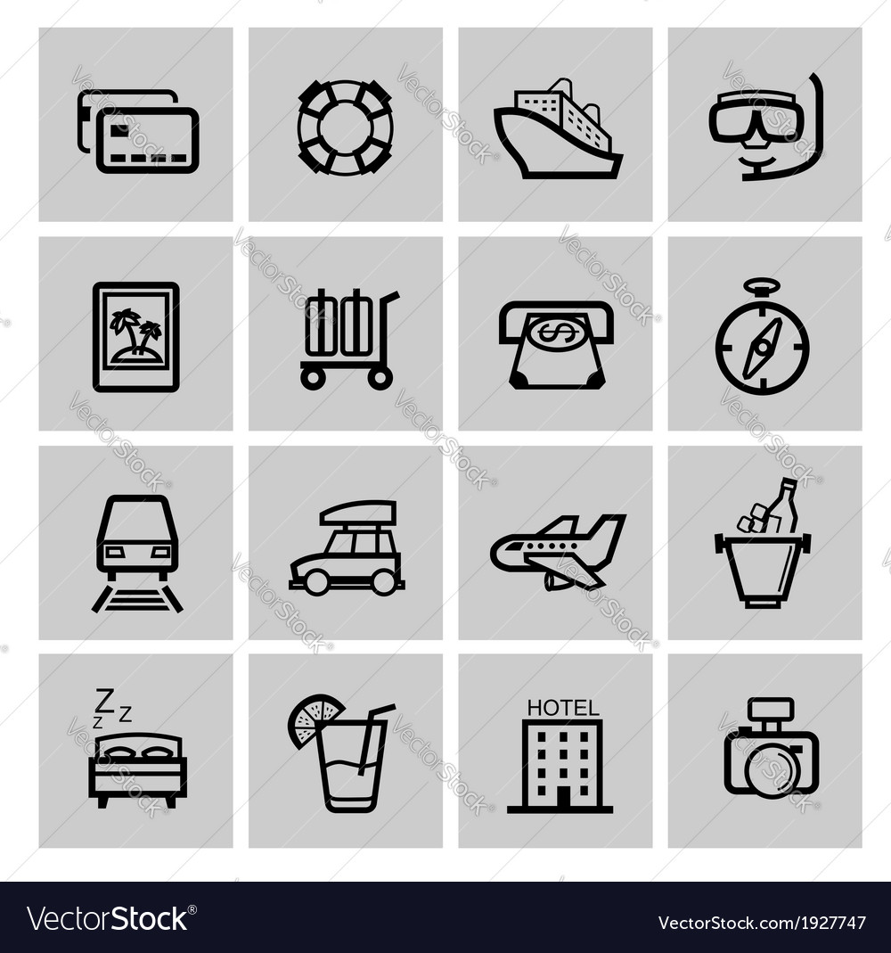 Black vacation travel icon set
