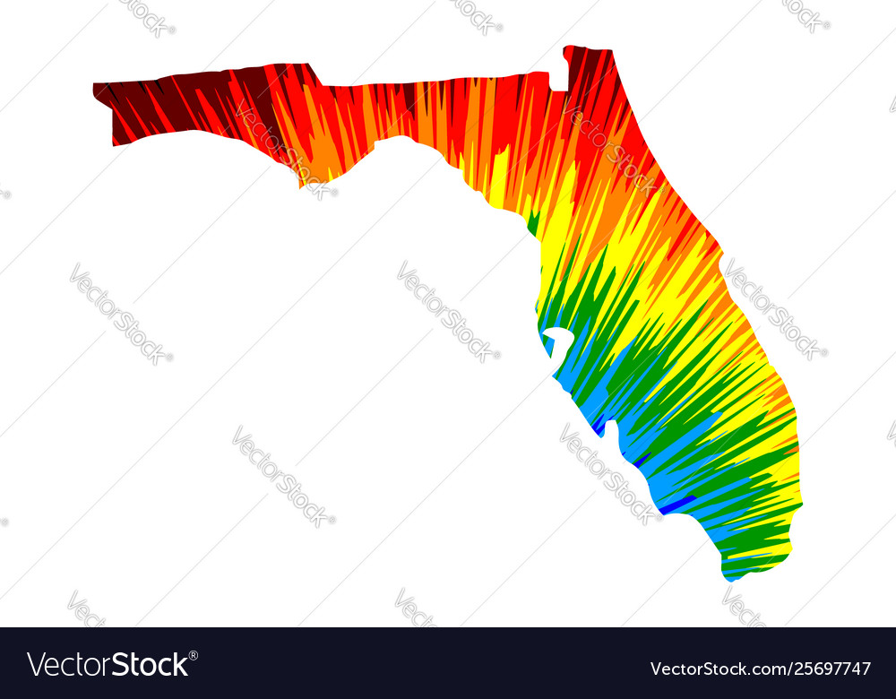 Florida - map is designed rainbow abstract