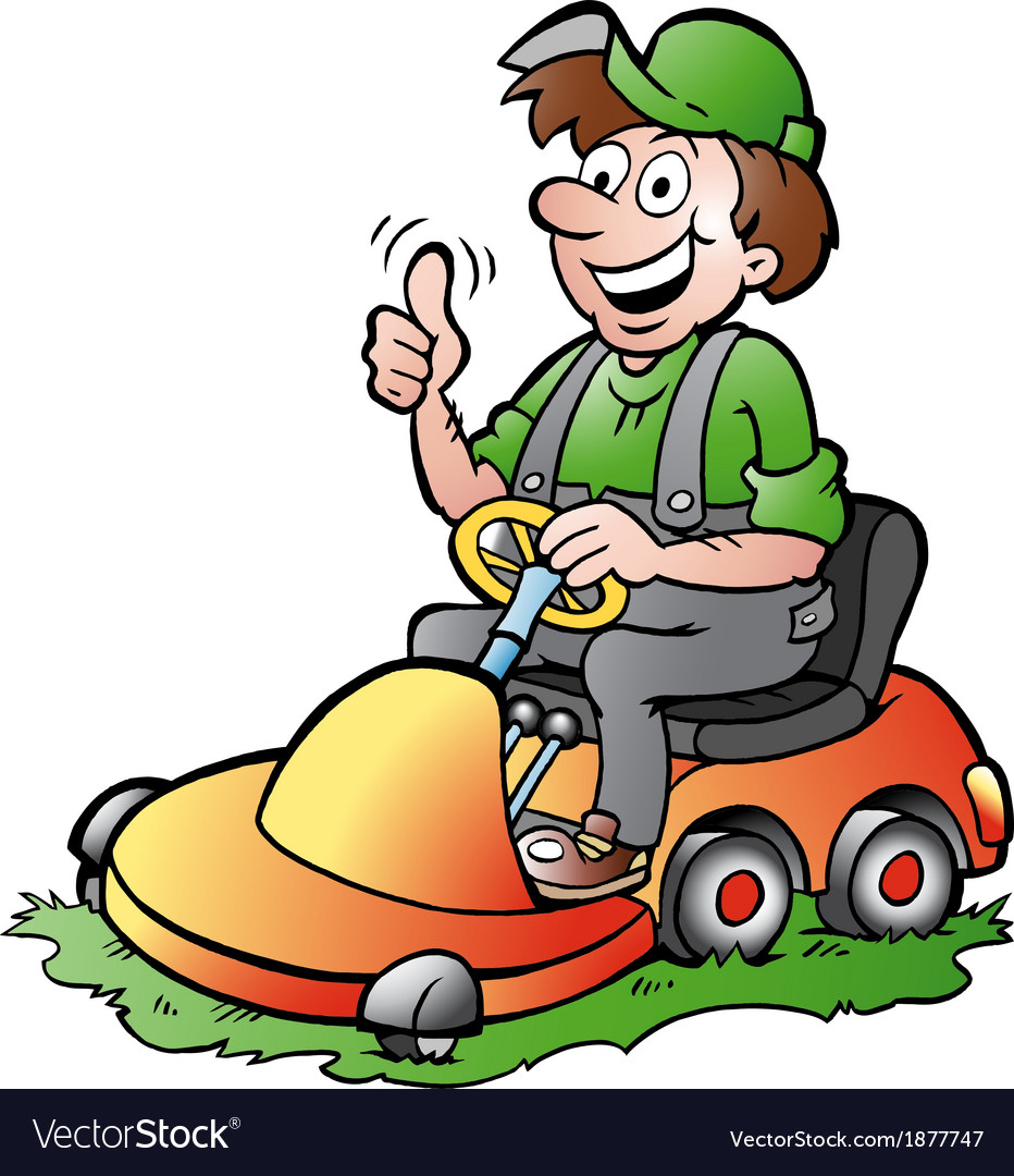 Hand-drawn of an happy Gardener riding his l