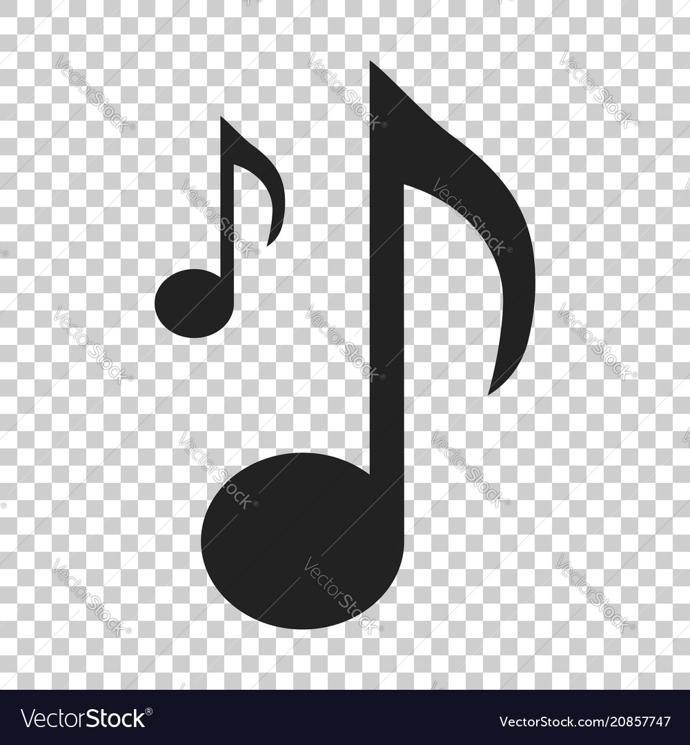 Music note icon in flat style sound media on