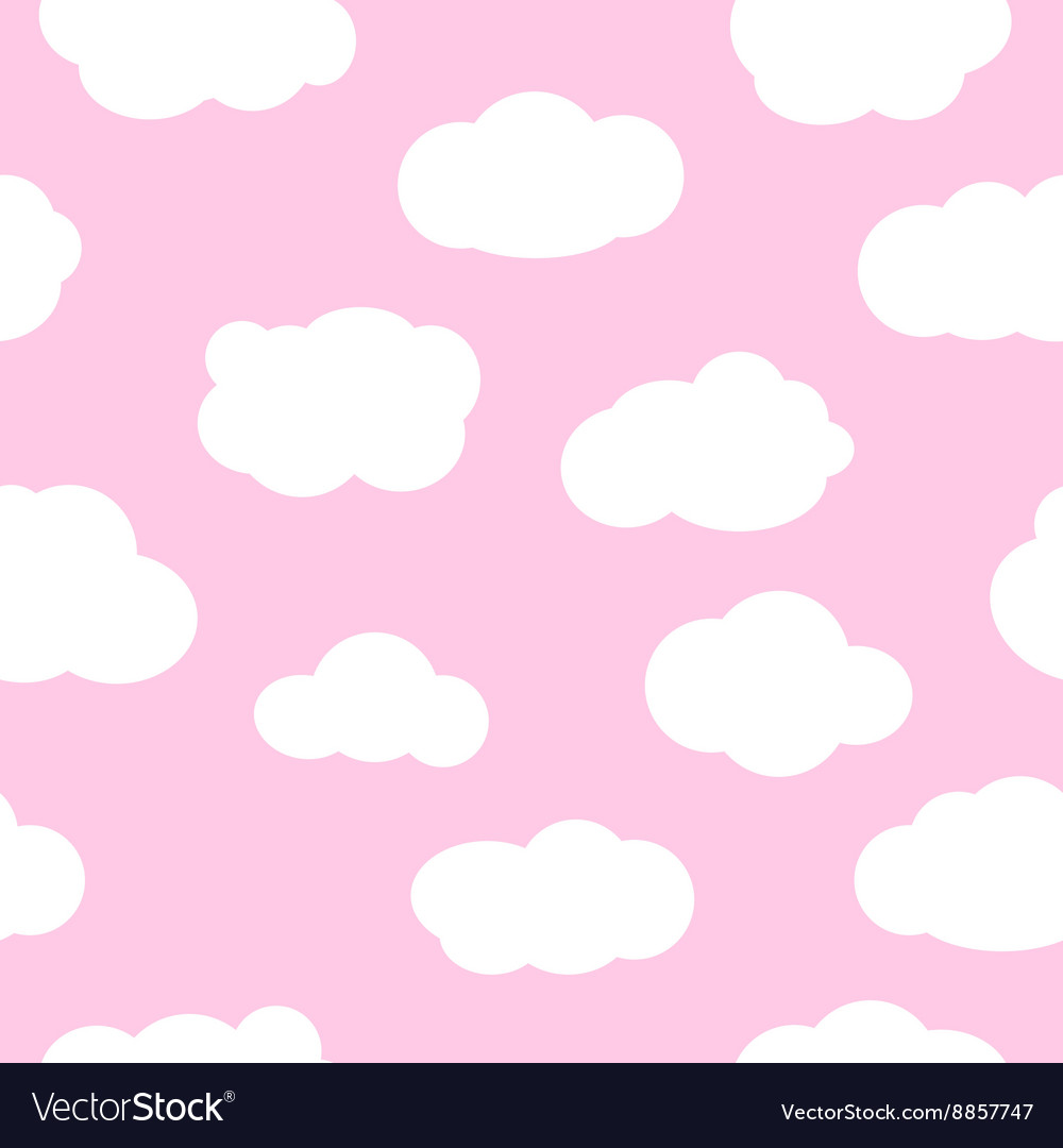 Pink sky with clouds seamless pattern