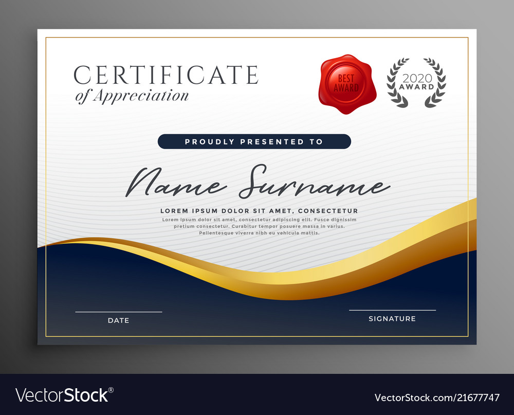 professional diploma certificate template design vector image