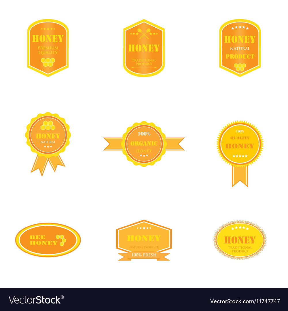 Set of logos for honey products