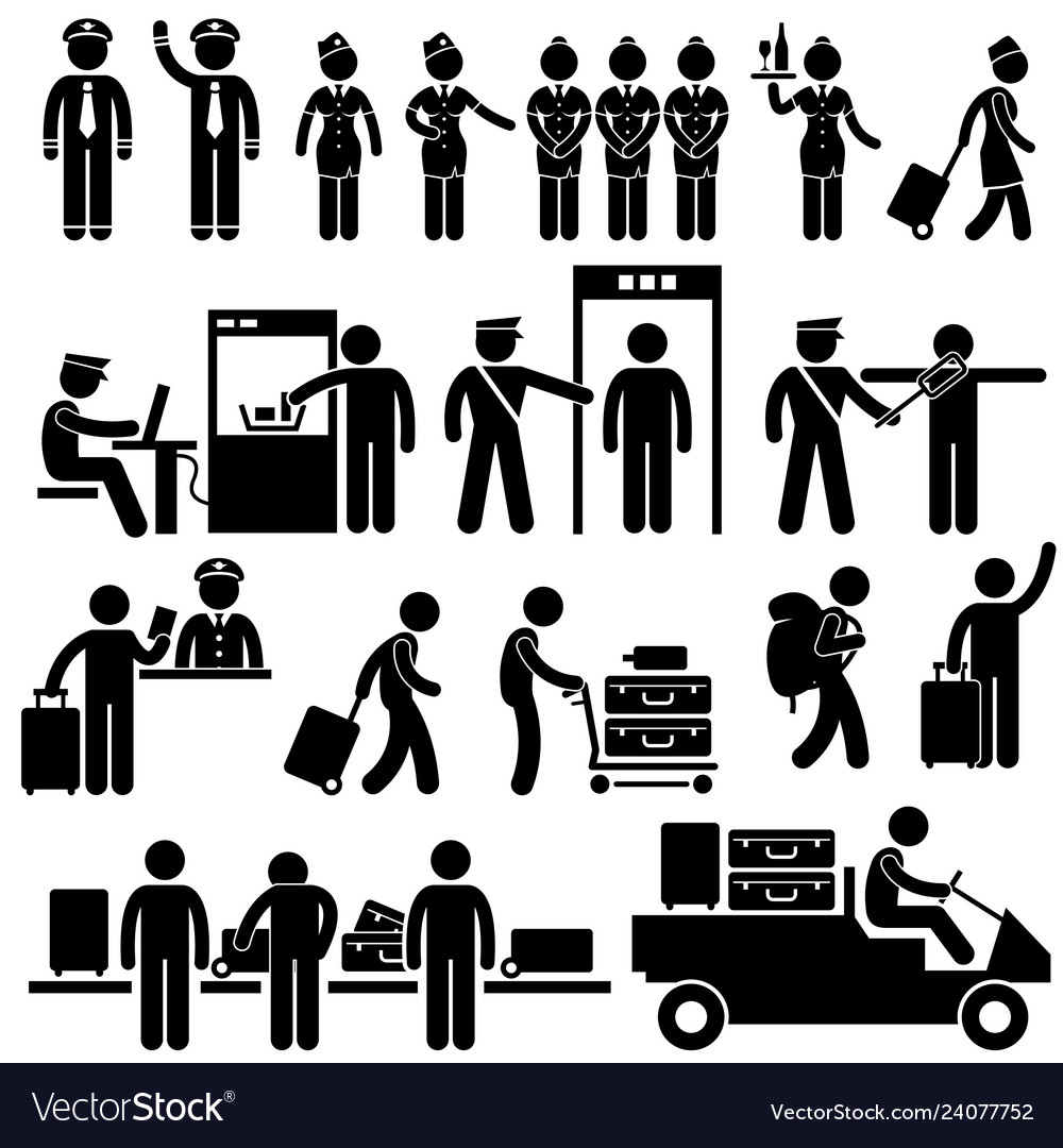 Airport workers and security pictograms a set of