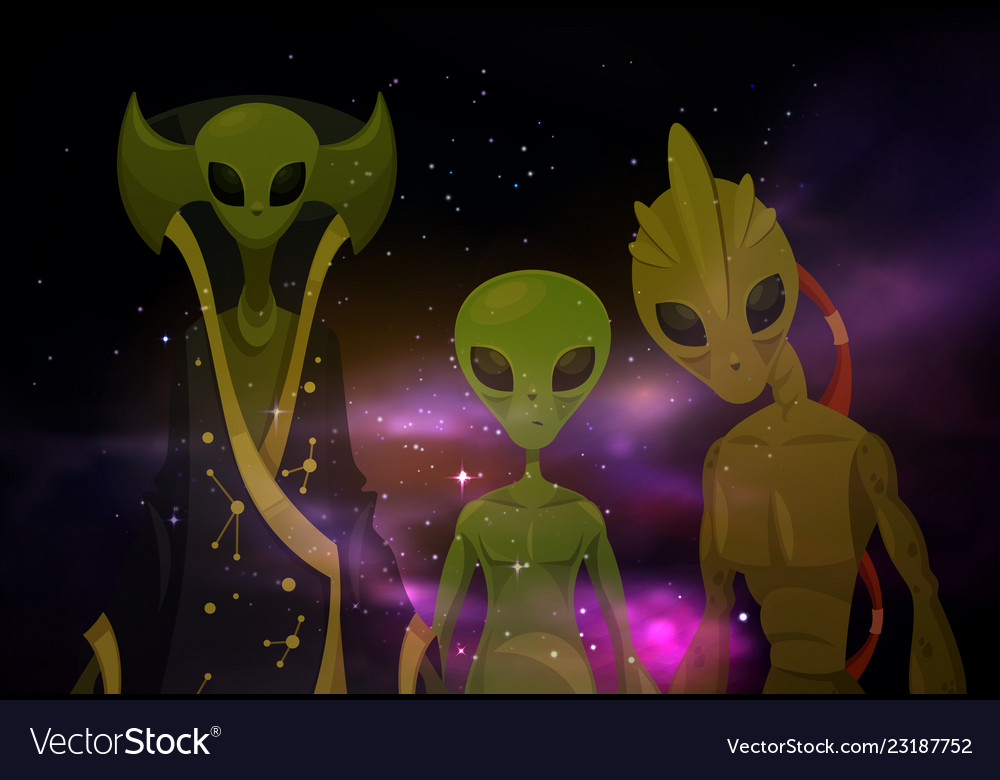 Aliens or martians at space or cosmos sci-fi