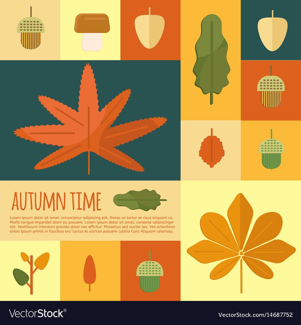 Autumn foliage in flat styl