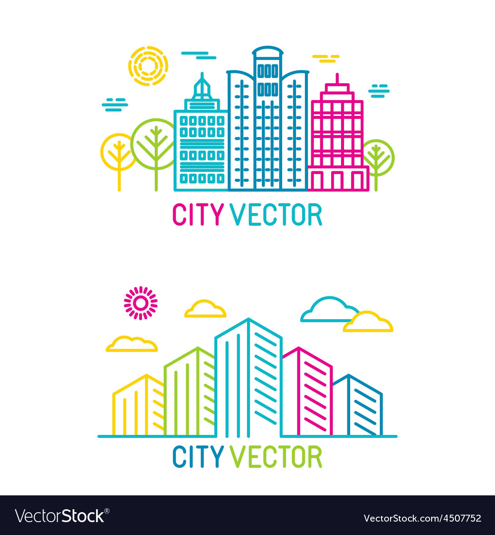 City and architecture logos in trendy bright