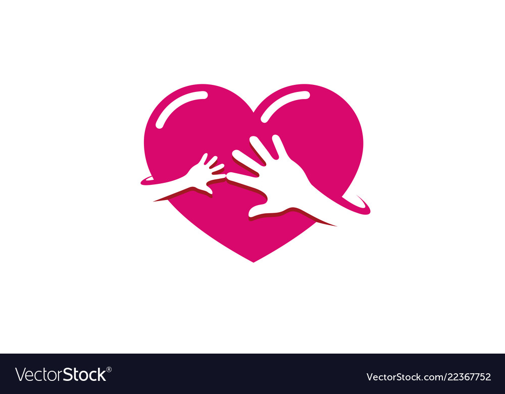 Creative two hands red heart logo