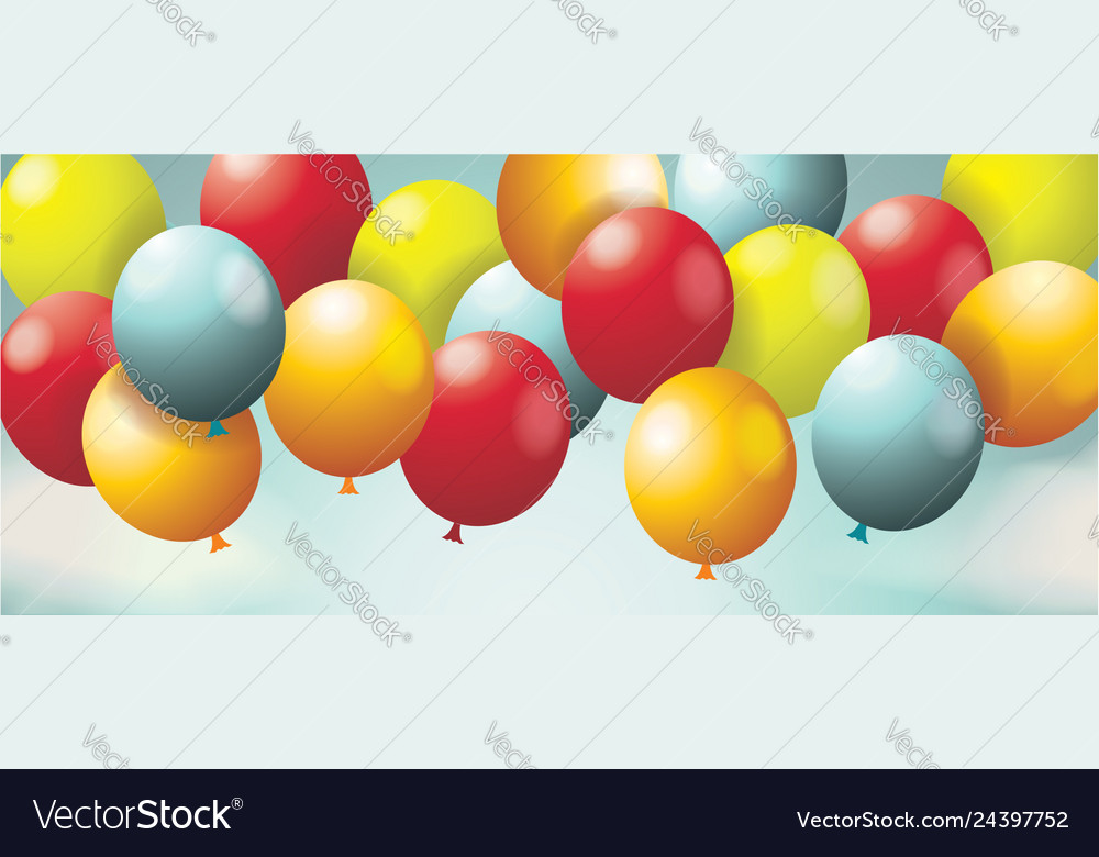 Holiday background with balloons sky with white