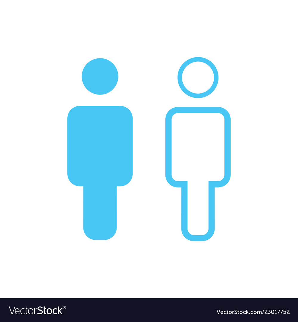 Linear and flat man icon simple flat symbol blue