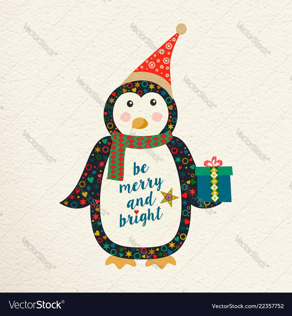 Merry christmas cute retro penguin greeting card