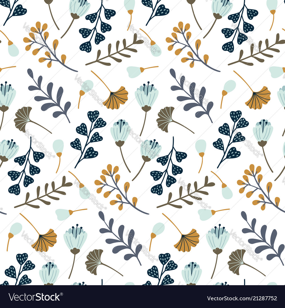 Modern seamless pattern with leaves flowers and vector image