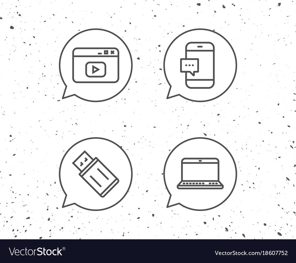 notebook usb flash drive and browser window vector image Built in Webcam Laptops