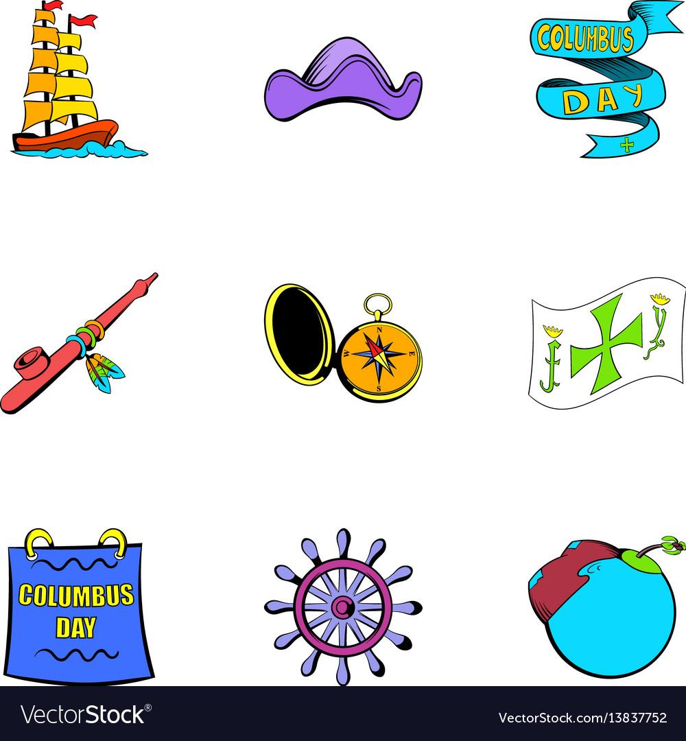 Ocean travel icons set cartoon style