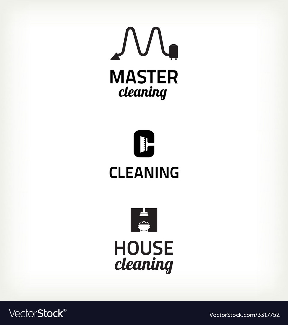 Set of minimalistic cleaning sign vector image