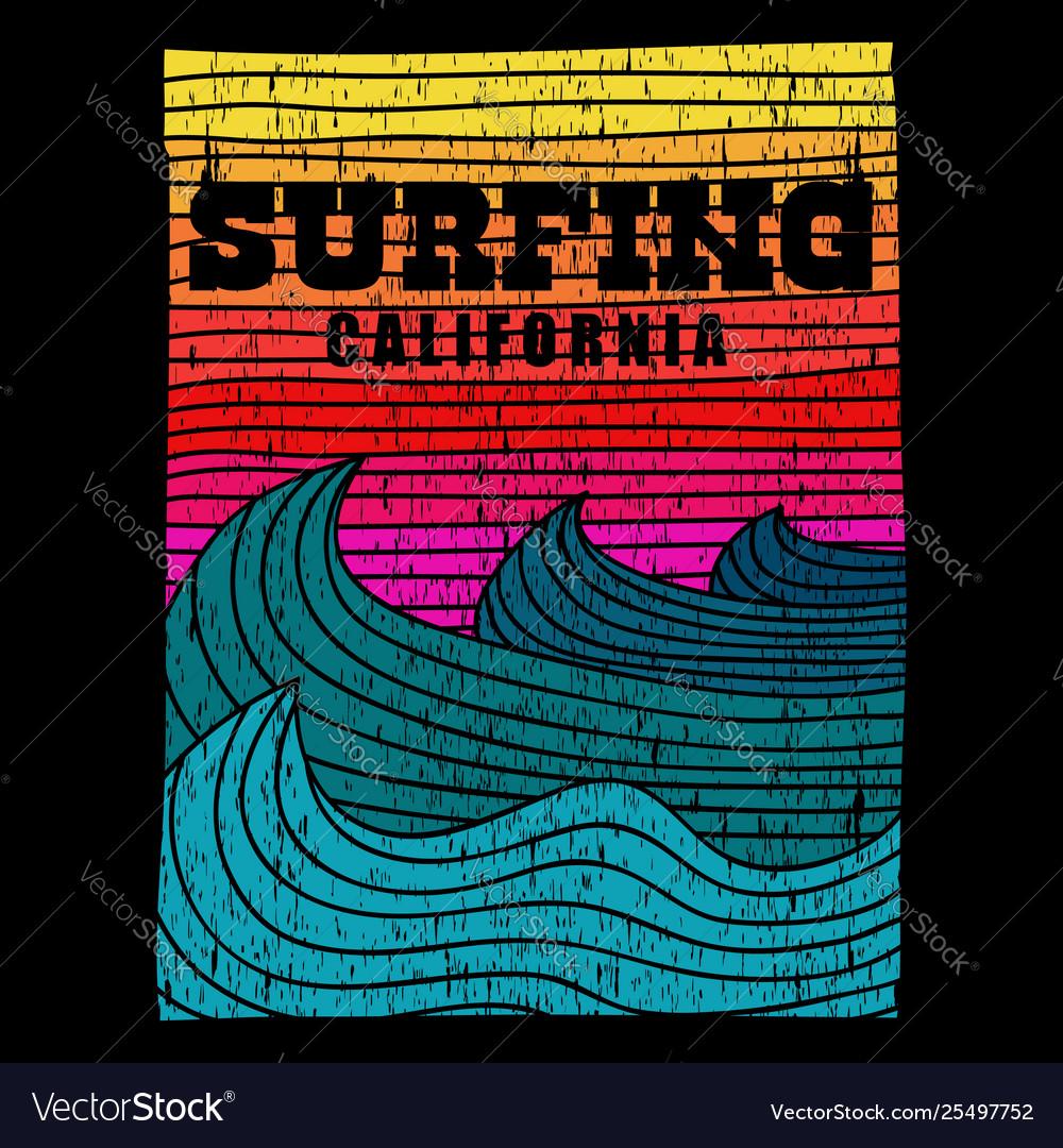 Surfing sea california retro