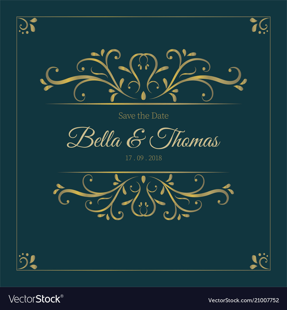 Vintage dark luxury golden invitation card
