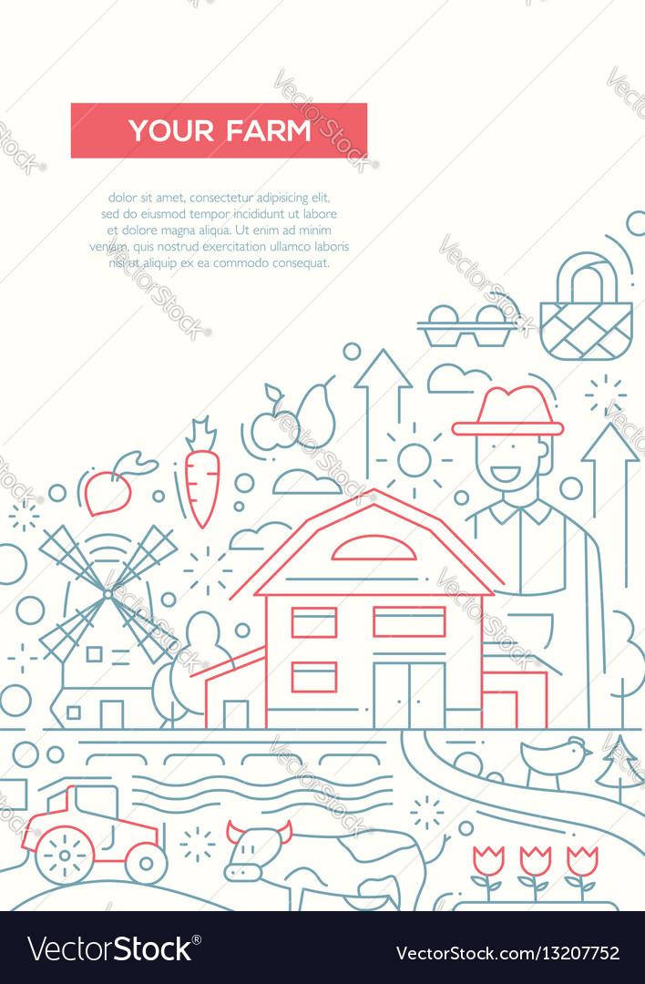Your farm - line design brochure poster template