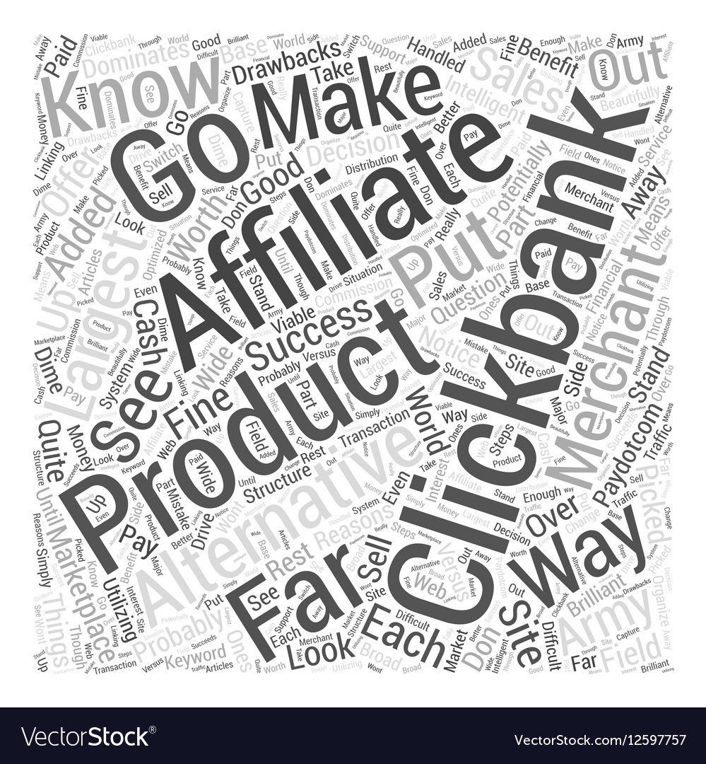 Alternatives to Clickbank Word Cloud Concept vector image